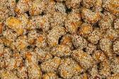 Closeup cashew in sesame shoot background — Stock Photo