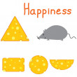 Happiness mouse and cheese — Stock Vector