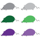 Different colored six mice — Stockvektor