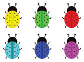 LadyBirds different colors — Stock Vector