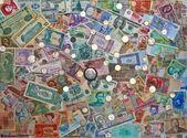 Kleurrijke oude wereld papieren geld achtergrond munten — Stockfoto
