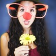 Young girl smiling clown — Stockfoto #12805169