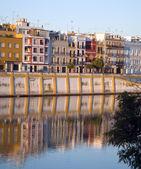Triana in Seville at dawn near the river Guadalquivir — Stock Photo