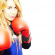Beautiful woman with boxing gloves - Foto de Stock