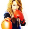 Beautiful woman with boxing gloves — Stock Photo