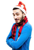 Handsome man in christmas hat — Stock Photo