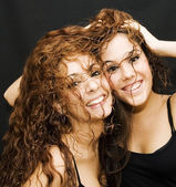 Two Beautiful Brunettes Girls — Stock Photo