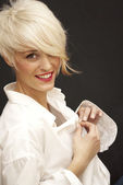 Beautiful woman with short white hair — Stock Photo