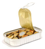 Fish Can With Coin — Stock Photo