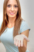 Beautiful  Woman  With His Open Hand — Stock Photo