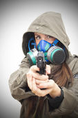Beautiful  Woman With Gas Mask And Gun  — Stock Photo