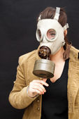 Beautiful  Woman With Gas Mask — Foto de Stock