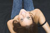 Beautiful  Woman  Lying Face Up — Stock Photo