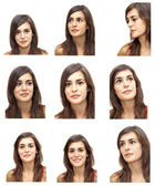 Mosaic of Beautiful  Woman expressing different emotions — Stock Photo
