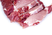 Piece of raw meat cut into steaks — Stock Photo