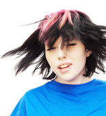 Beautiful  Woman with a red tuft  Shaking Her Hair  — Stock Photo