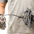 Man cuts the cable — Stock Photo