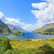 Glenfinnan Monument and Loch Shiel lake. Highlands Scotland - Stock Photo