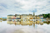 Honfleur skyline and harbor with reflection. Normandy, France — Stock Photo