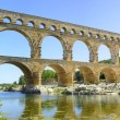 Roman aqueduct Pont du Gard, Unesco site.Languedoc, France. — Stock Photo