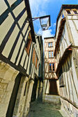 Old Street and wooden facades in Rouen. Normandy, France. — Stock Photo