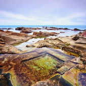 Le Vaschette water pool and rocks seascape near Livorno. Italy. — Stock Photo