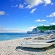 Stock Photo: Etretat village, bay beach and boats. Normandy, France.