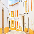 Old urban street and white facades in Evora. Alentejo, Portugal — Stock Photo