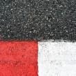 Texture of race asphalt and curb on Grand Prix circuit - Stock Photo