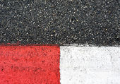 Texture of race asphalt and curb on Grand Prix circuit — Stock Photo