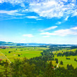 Bavaria landscape from Neuschwanstein castle. Schwangau village — Stock Photo