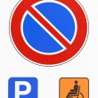Royalty-Free Stock Photo: No parking road sign photo. Reserved for disabled drivers