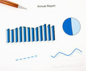 Annual report chart ink print paper and pen. Monthly stats. — Stock Photo