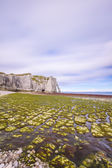Etretat Aval cliff landmark and its beach. Normandy, France. — Stock Photo
