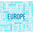 Europe, capitals of countries and other cities words cloud background — Stock Photo #18747585