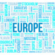 Stock Photo: Europe, capitals of countries and other cities words cloud background