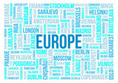 Europe, capitals of countries and other cities words cloud background — Stock Photo