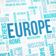 Stock Photo: Europe cloud concept print, cities words background, vignette added