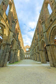 Saint or San Galgano uncovered Abbey Church ruins. Tuscany, Italy — Stock Photo
