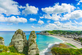 Etretat village. Aerial view from the cliff. Normandy, France. — Stock Photo