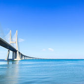 Vasco da Gama bridge on Tagus River. Lisbon, Portugal, Europe. — Stock Photo