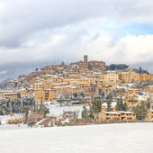 Tuscany, Casale Marittimo village covered by snow in winter. Italy — Stock Photo