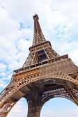 Eiffel Tour or Tower landmark. Wide angle view. Paris, France — Stock Photo