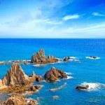 Cliff Rocks and Ocean Andalusia landscape. Parque Cabo de Gata, Almeria. — Stock Photo #20231755