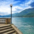 Como Lake landscape. Lamp, stairs and water. Bellagio Italy — Stock Photo #20502001