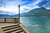 Como Lake landscape. Lamp, stairs and water. Bellagio Italy — Stock Photo