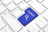 Concept d'affaires recherche, bleu entrer touche ou touche sur keybo blanc — Photo