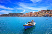Wooden small boat in Porto Santo Stefano seafront. Argentario, Tuscany, Italy — Stock Photo