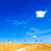 Windmills, rural green fields, blue sky and small cloud. Consuegra, Spain — Stock Photo