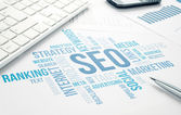 Grafico di seo business concept nuvola stampa documento. — Foto Stock